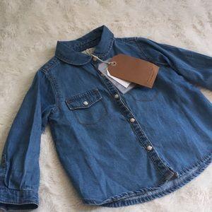 NWT Zara Baby Girl Denim Button Up Top Size 9-12mo